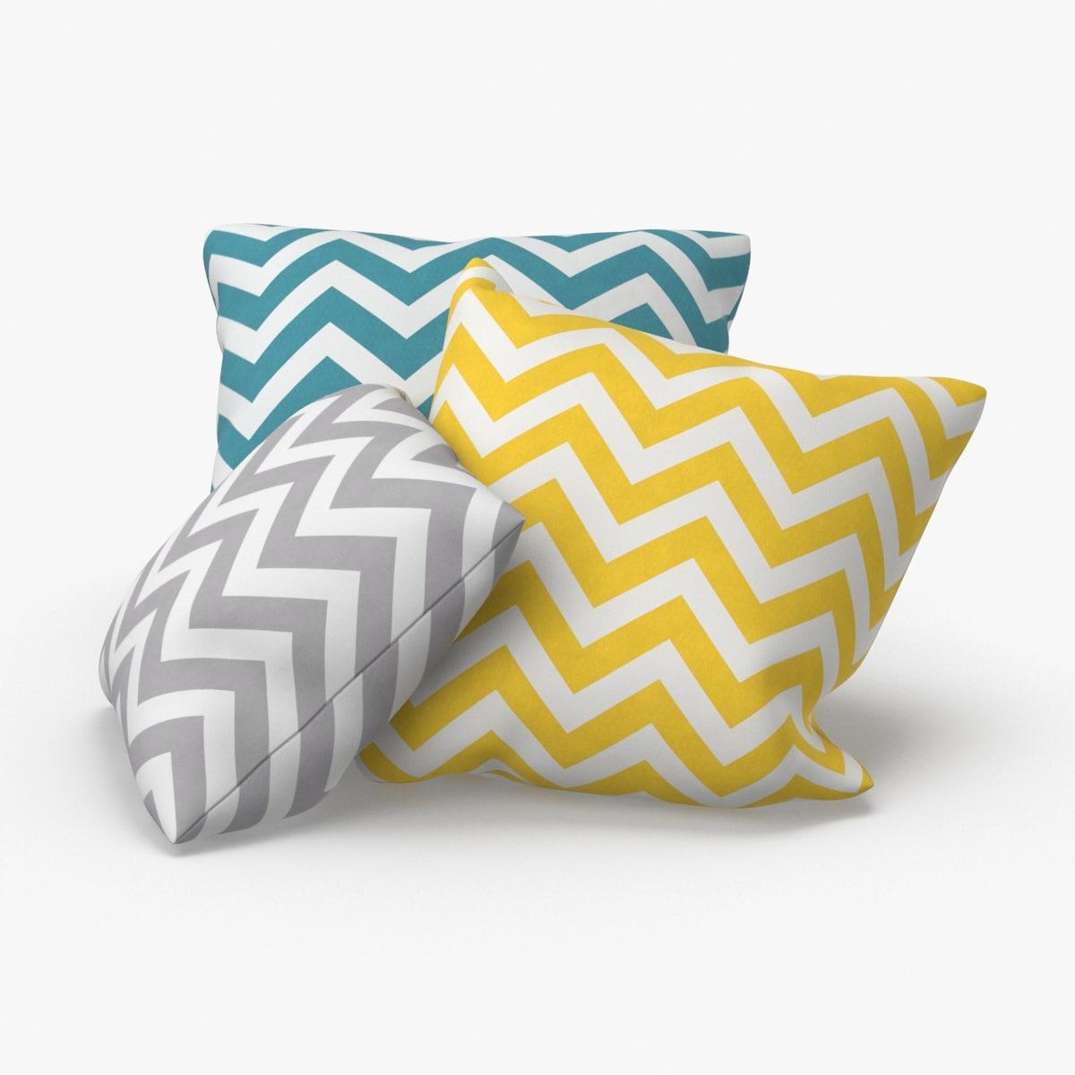 throw-pillow-02---group-blue-yellow-gray 3D model
