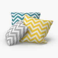 throw-pillow-02---group-blue-yellow-gray 3D model
