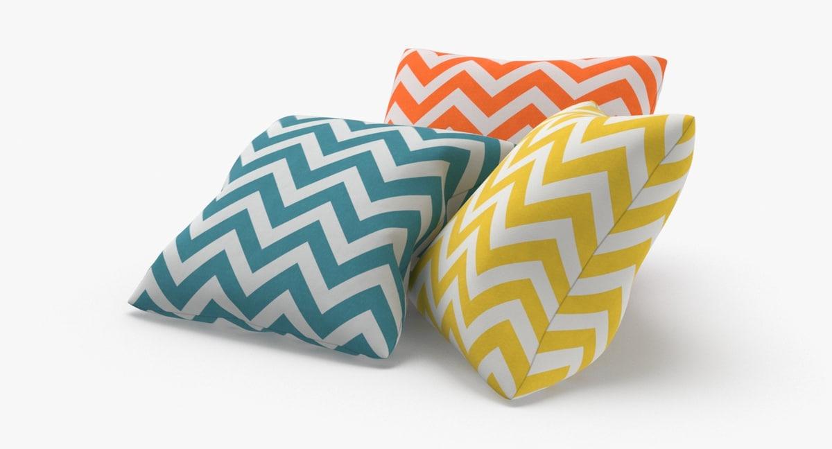 3D model throw-pillow-02---group-blue-yellow-orange
