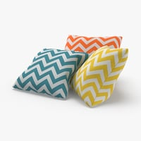 3D model throw-pillow-02---group-blue-yellow-orange