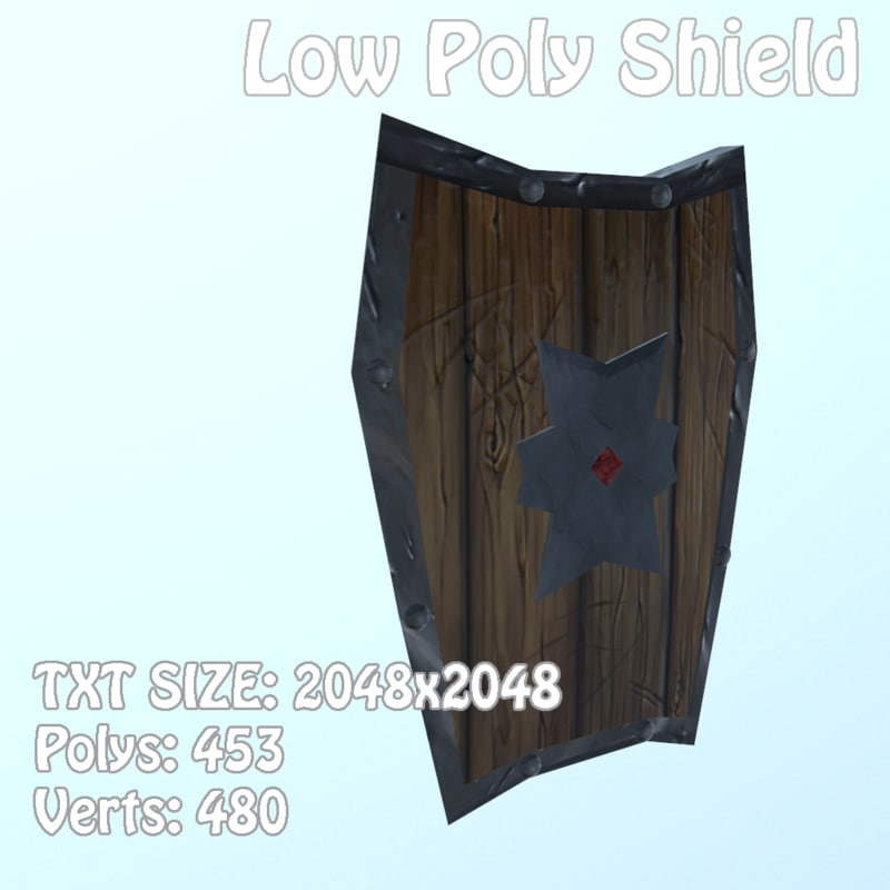 3D model shield hand painted