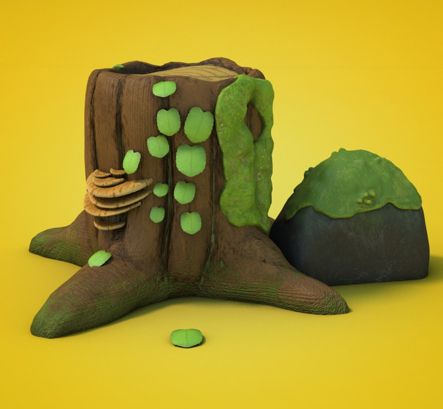 tree trunk cartoon 3D