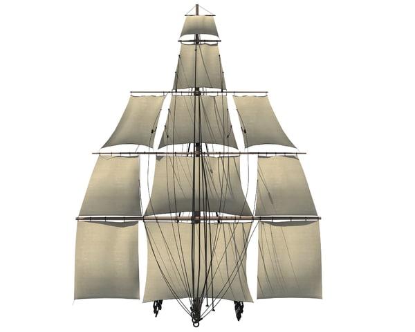 sailing ship mast 3D model