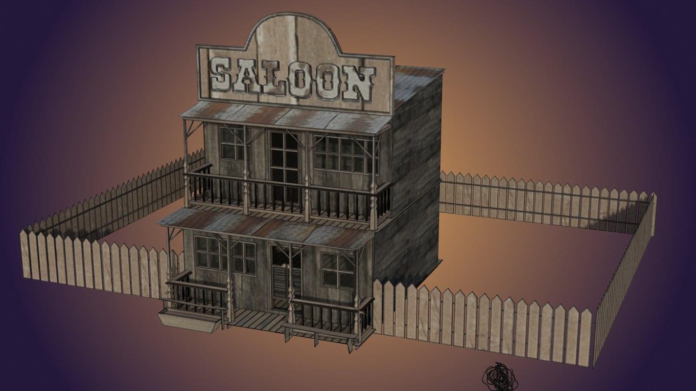 saloon old west 3D model
