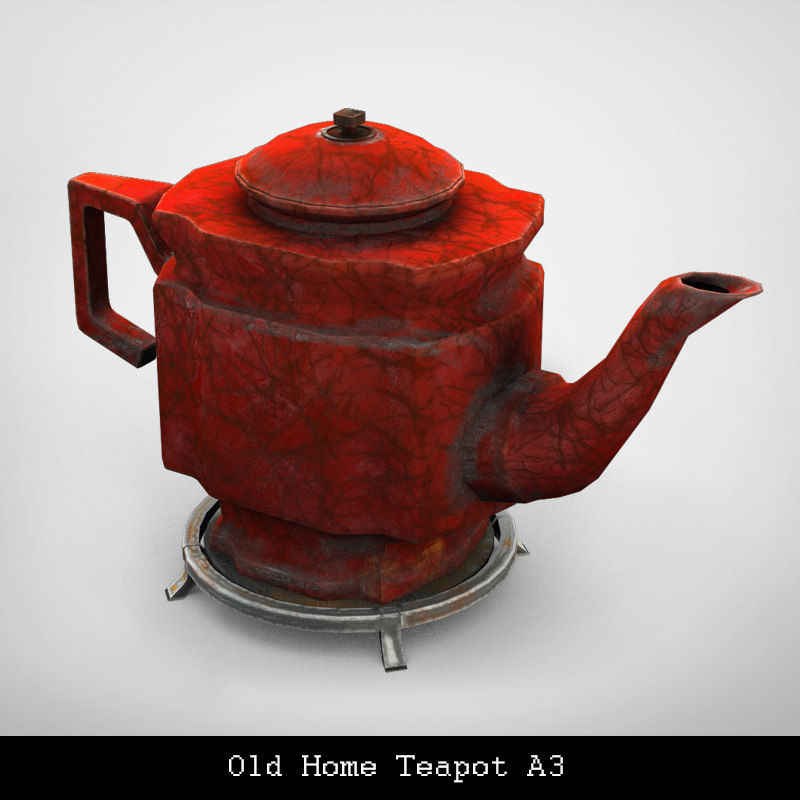 3D old home teapot