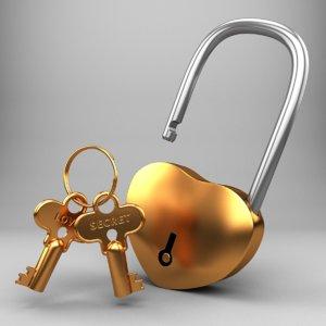 realistic golden key 3D model