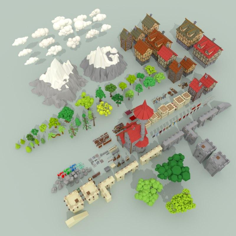 3D model medieval city pack