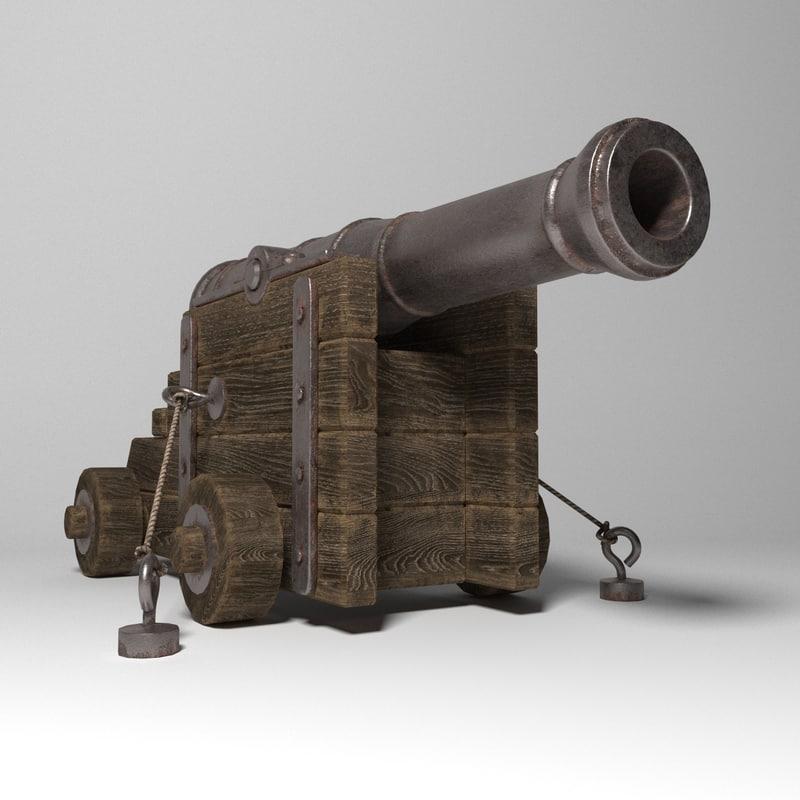3D model ancient cannon