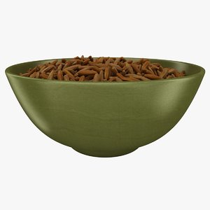 3D realistic brown rice bowl model