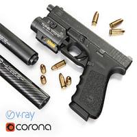 Glock 17 + flashlight