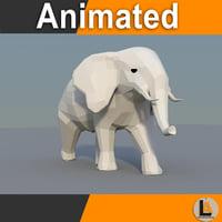 3D model paper elephant