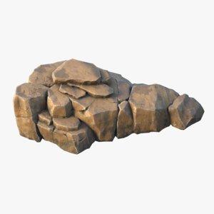 3D model realistic rock 01