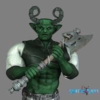 orc character rig fantasy 3D model