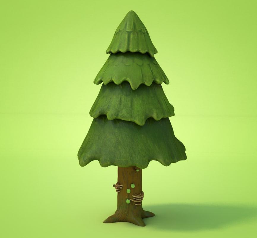 pine cartoon 3D model