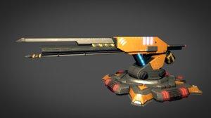 defences rail gun 3D model
