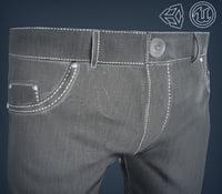 gray jeans pants 3D