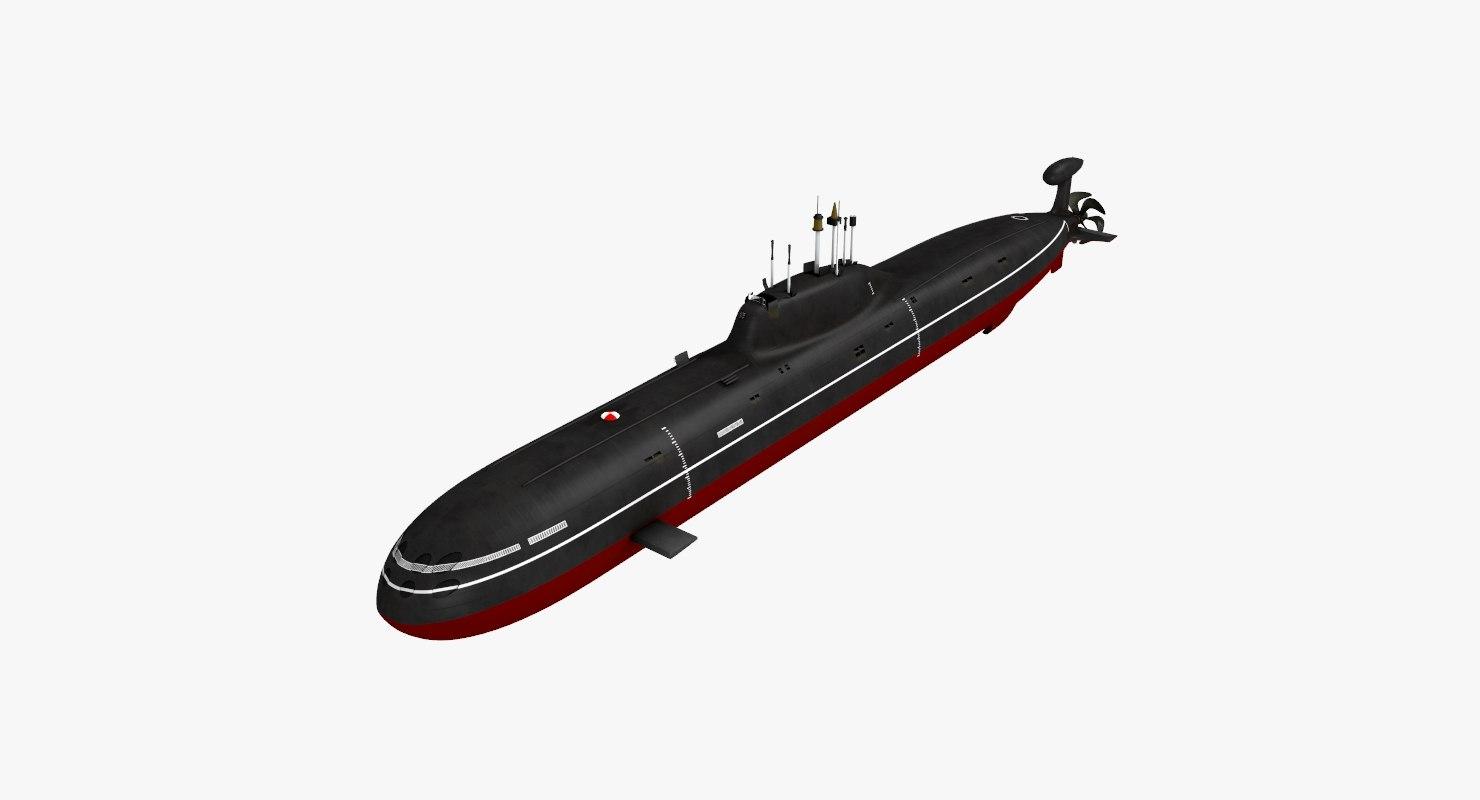 3D akula class submarine model
