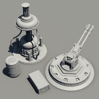 sci-fi high-poly cannon 3D