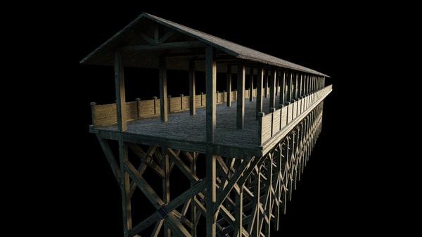 3D flat wooden bridge versions model