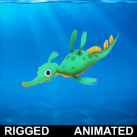 cartoon hippocampus rigged fish 3D