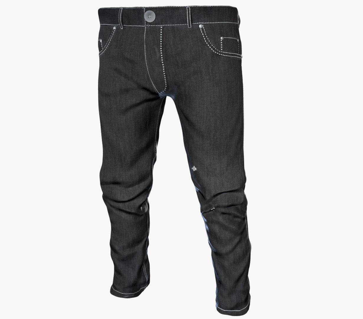 3D black jeans pants model