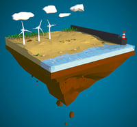 Floating island of Desert windfarm beach