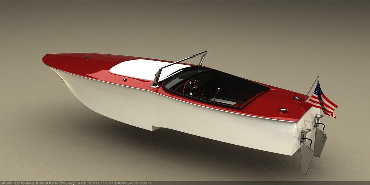3D model retro speed boat