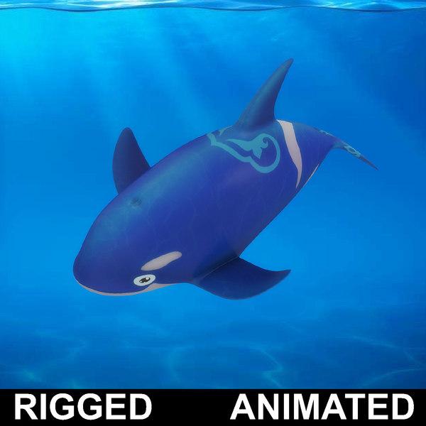 cartoon dolpin rigged fish 3D model