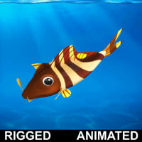 cartoon rigged fish animation 3D model