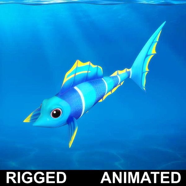 3D cartoon rigged fish animation model