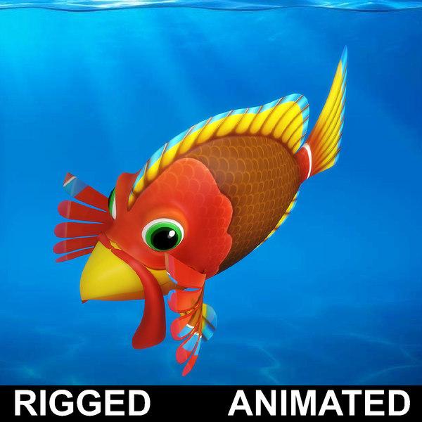 cartoon rigged fish animation 3D model