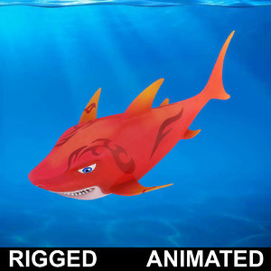 cartoon shark rigged fish 3D model