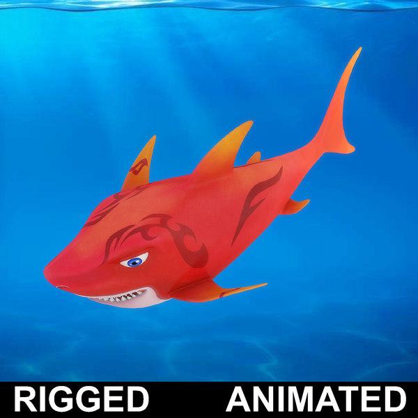 cartoon shark rigged fish 3D model