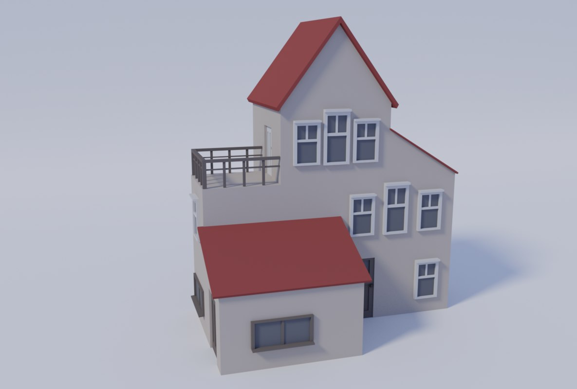 3D low-poly suburban house
