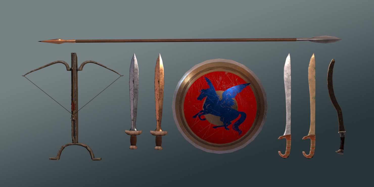 ancient greek weapons pack 3d turbosquid 1171314