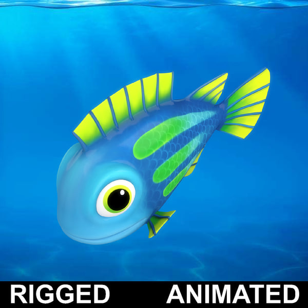 cartoon rigged fish animation model