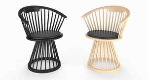 3D tom dixon fan dining chair