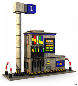 3D gasoline gas pump model