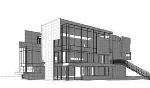 richard meier house revit 3D model