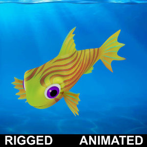 3D cartoon rigged fish animation model