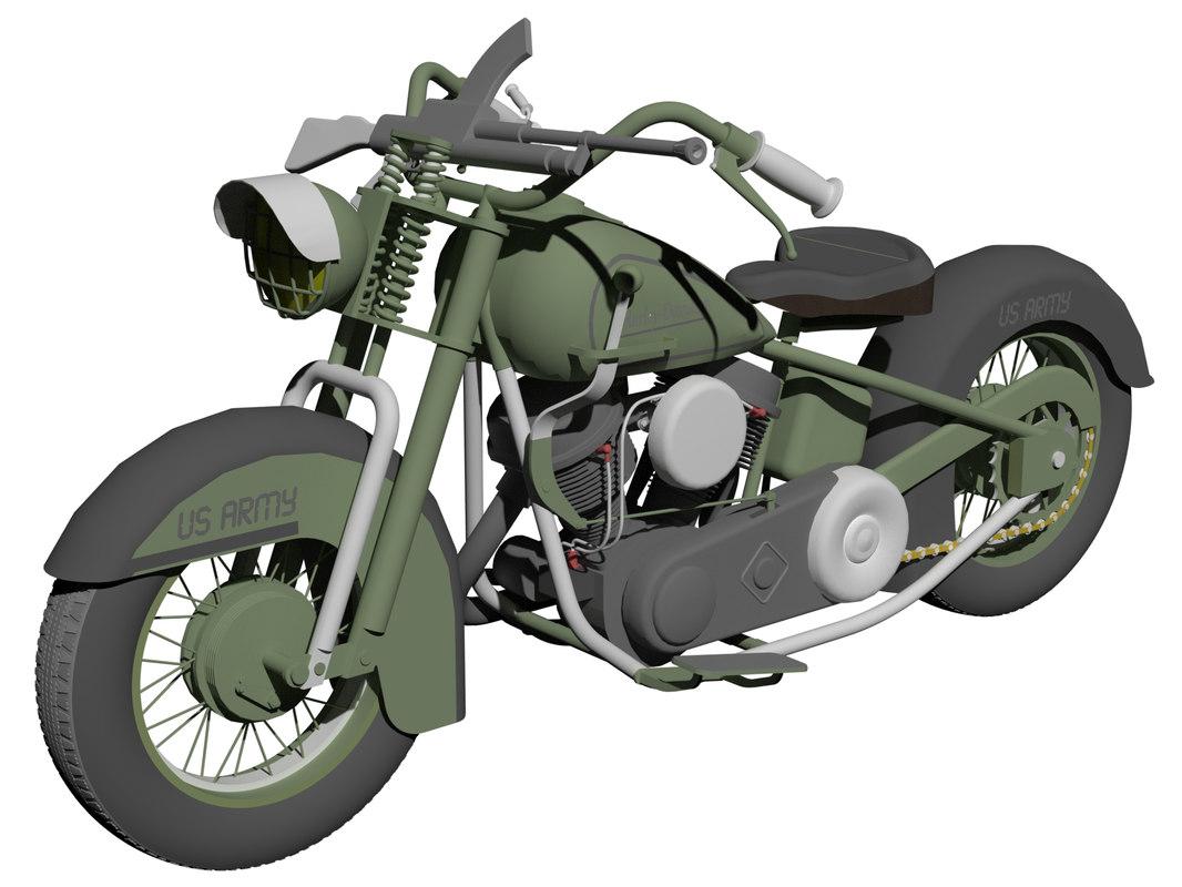 Harley Davidson Army: Harley Davidson Fl Army 3D Model