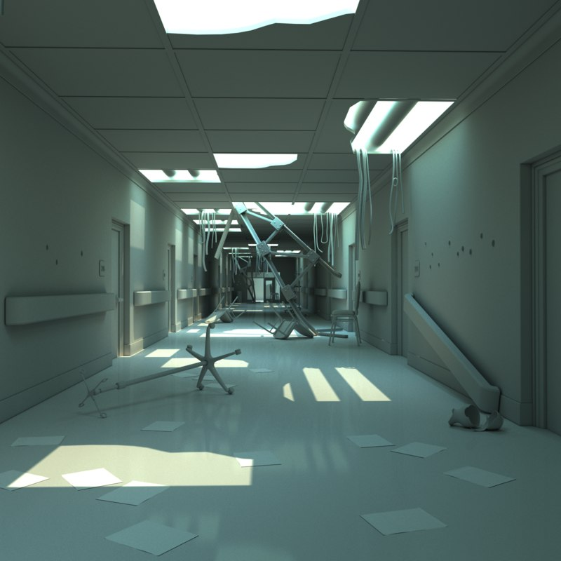 damaged hallway 3D model