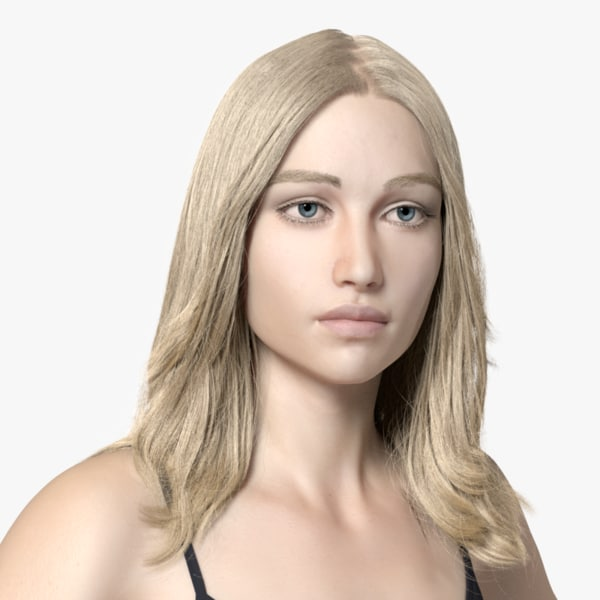 rigged female european 3D model