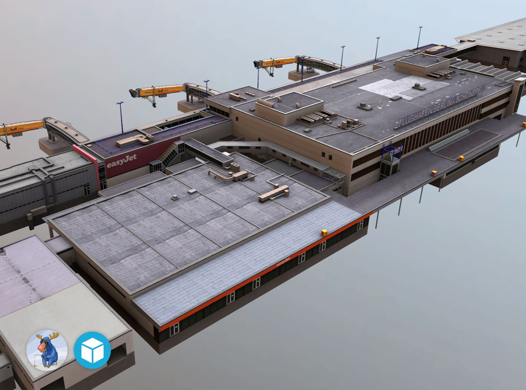 low-poly airport terminal 3D model