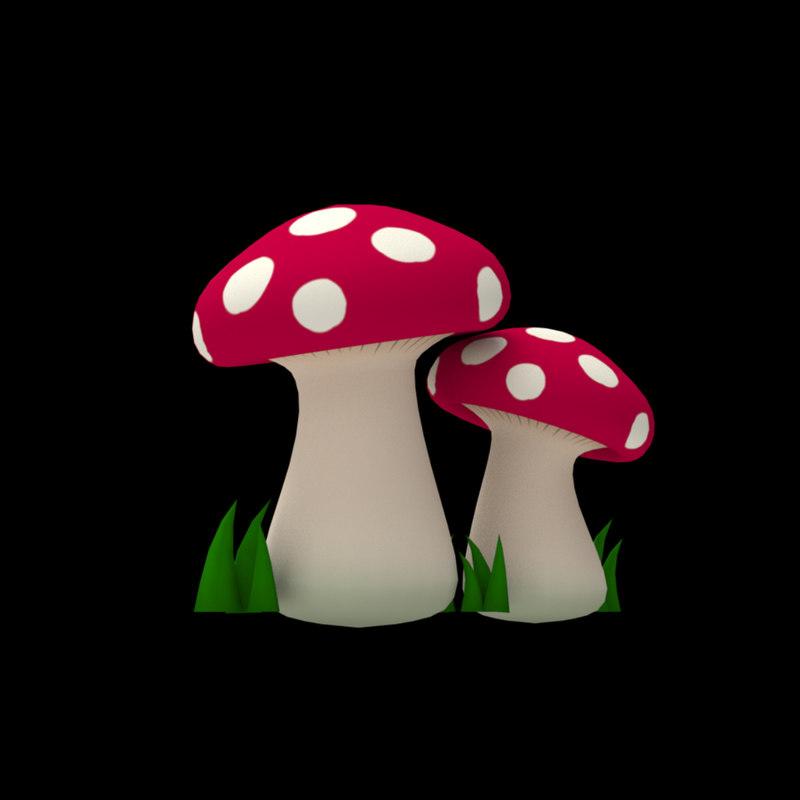 mushrooms elements games 3D model