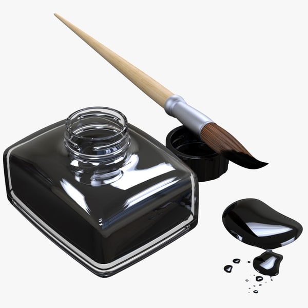 calligraphy brush india ink 3D model