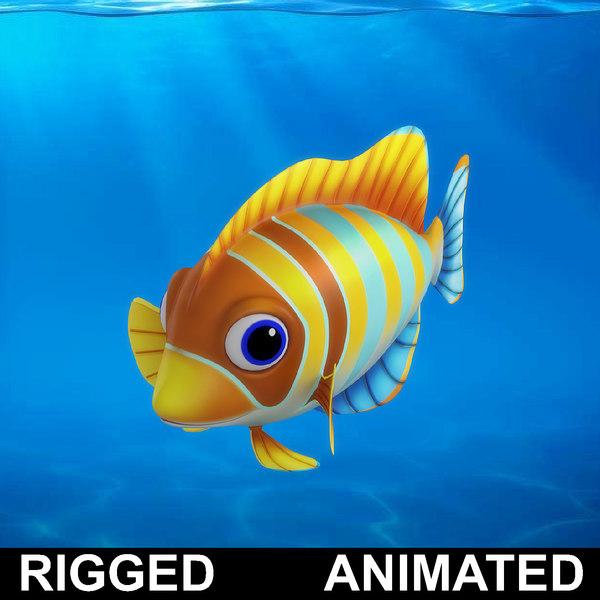 3D cartoon rigged fish animation