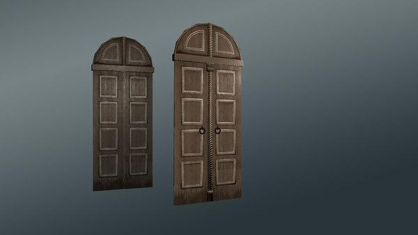 wooden door detailing 3D