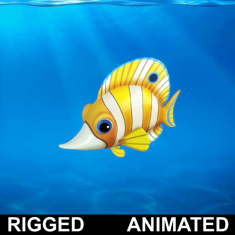 cartoon rigged fish animation model