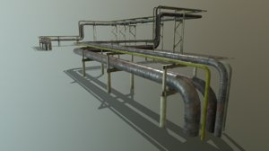 3D model pbr modular industrial pipeline
